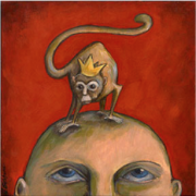 art image of monkey on top of person's head, trauma release is quiets he monkey
